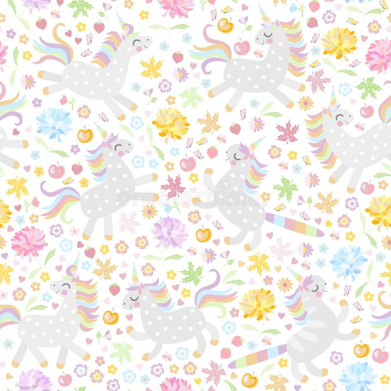 Seamless pattern with cute unicorns and colorful flowers on white background. Vector illustration.  stock illustration
