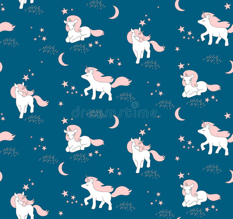 Seamless pattern with cute Unicorns, stars and moon. Vector illustration vector illustration