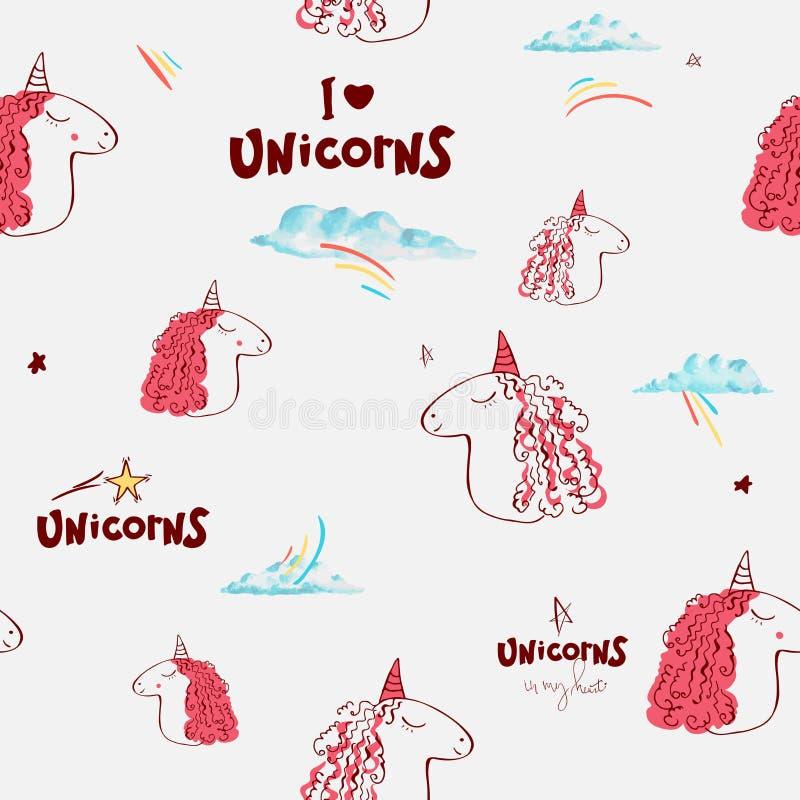 Seamless pattern. cute unicorns, word unicorn. white background Hand drawn vector illustration. Horse head. Cute magic royalty free illustration