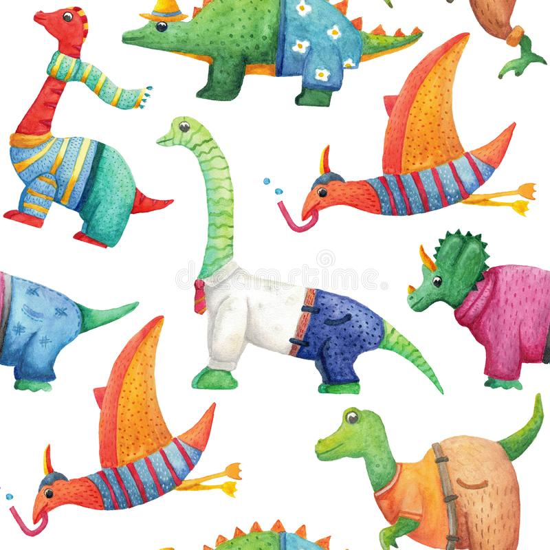 Seamless pattern with cute watercolor dinosaurs in clothes vector illustration