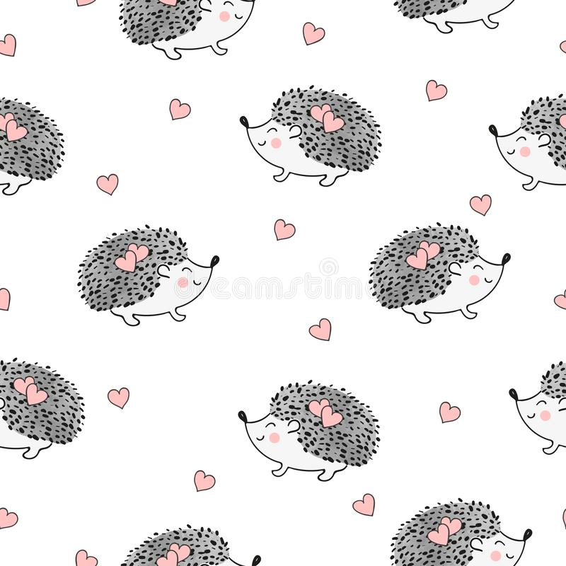 Seamless pattern with cute watercolor hedgehogs and hearts. royalty free illustration
