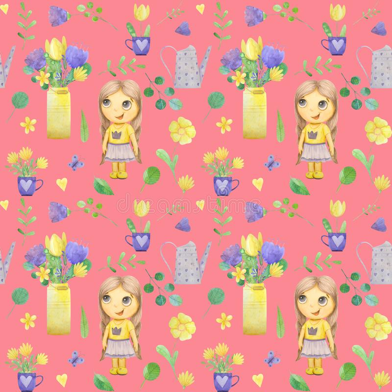 seamless pattern with cute watercolor illustration of girl and stylized flowers stock images
