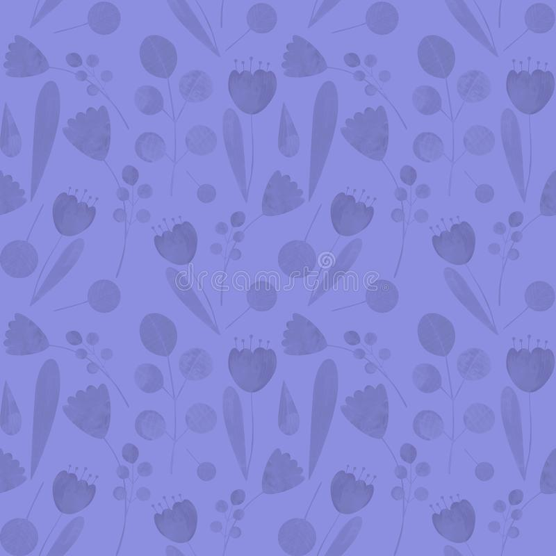 Seamless pattern with cute watercolor illustration of stylized flowers. Ideal for printing on fabric and wallpaper stock illustration
