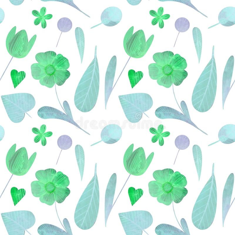 Seamless pattern with cute watercolor illustration of stylized flowers. royalty free stock image