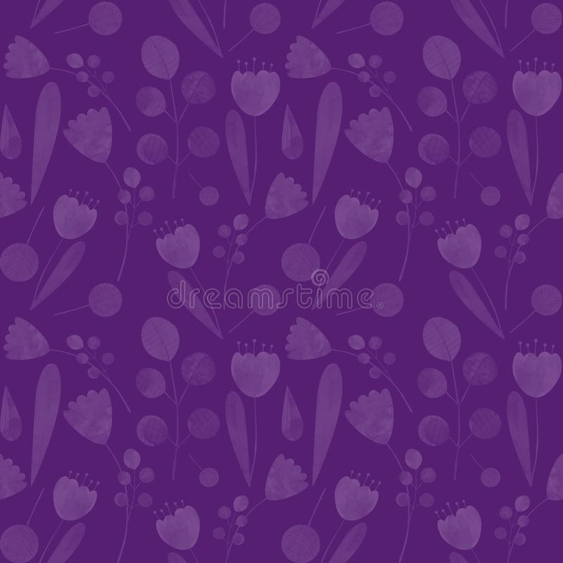 Seamless pattern with cute watercolor illustration of stylized flowers. royalty free stock photography