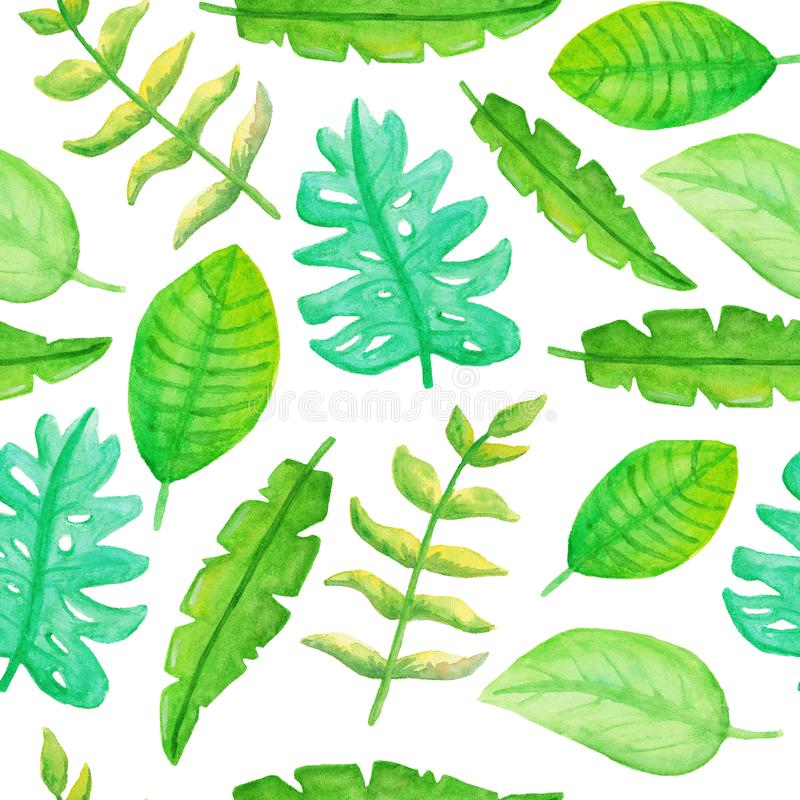 Seamless pattern with cute watercolor tropical leaves vector illustration