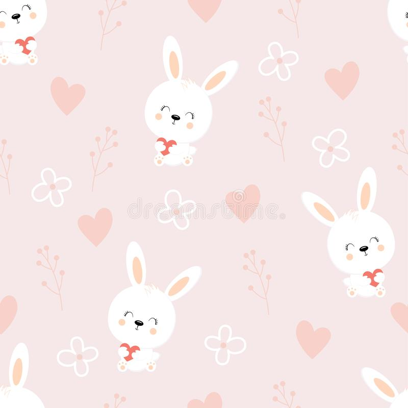 seamless pattern of cute white bunnies on purple background with floral elements stock illustration