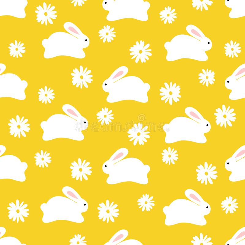Seamless pattern of cute white bunnies on yellow background with florwers stock photography