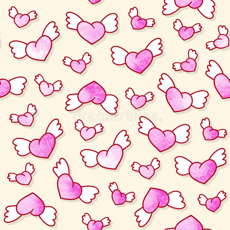 Seamless pattern with cute winged hearts. Valentine`s Day background. Vector template. vector illustration