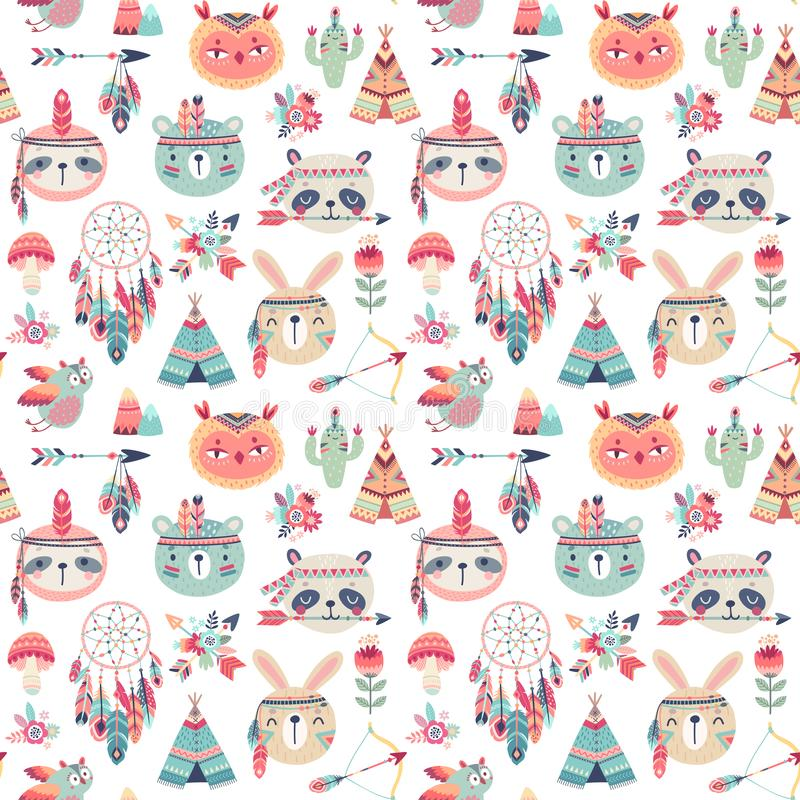 Seamless pattern with Cute Woodland boho tribal pattern, rabbit, owl, sloth, panda,bear. American indian set of stock illustration