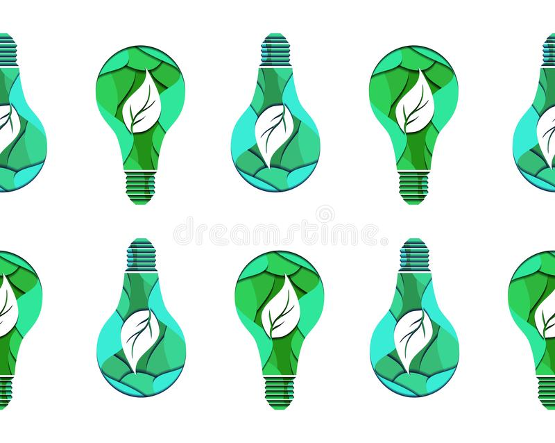 Seamless pattern of 3d ecological light bulb with leaves cut from paper on white background. Vector texture for your creativity royalty free illustration