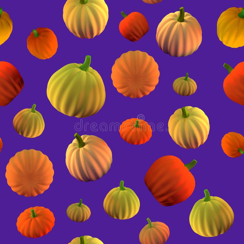Seamless pattern with 3d rendered colored pumpkins. Concept for halloween banners, flyers, cards. Seasonal vegetables.  vector illustration