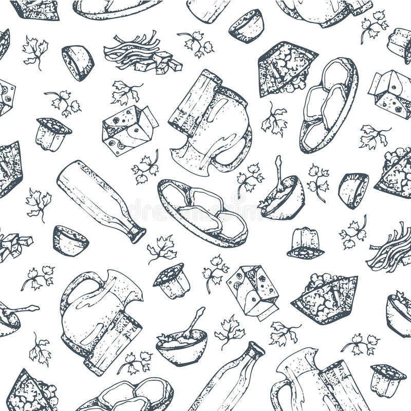 Seamless pattern dairy products, hand drawn, sketches foods. Icons cooking. To design menus, books of recipes, packaging, parts for coloring. Isolated vector vector illustration