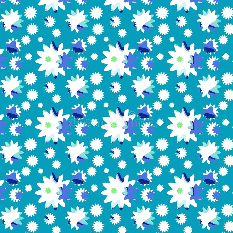 Seamless pattern daisies on blue. stock image