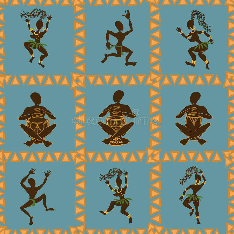 Seamless pattern of dancing African aborigines stock illustration