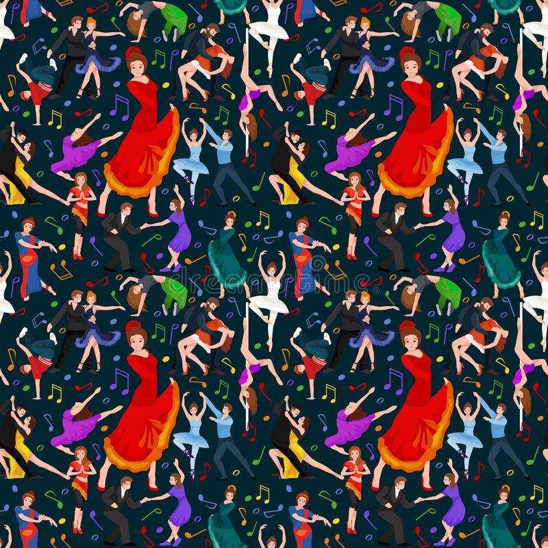 Seamless pattern. Dancing People, Dancer Bachata, Hiphop, Salsa, Indian, Ballet, Strip, Rock and Roll, Break, Flamenco. Tango, Contemporary, Belly Dance stock illustration