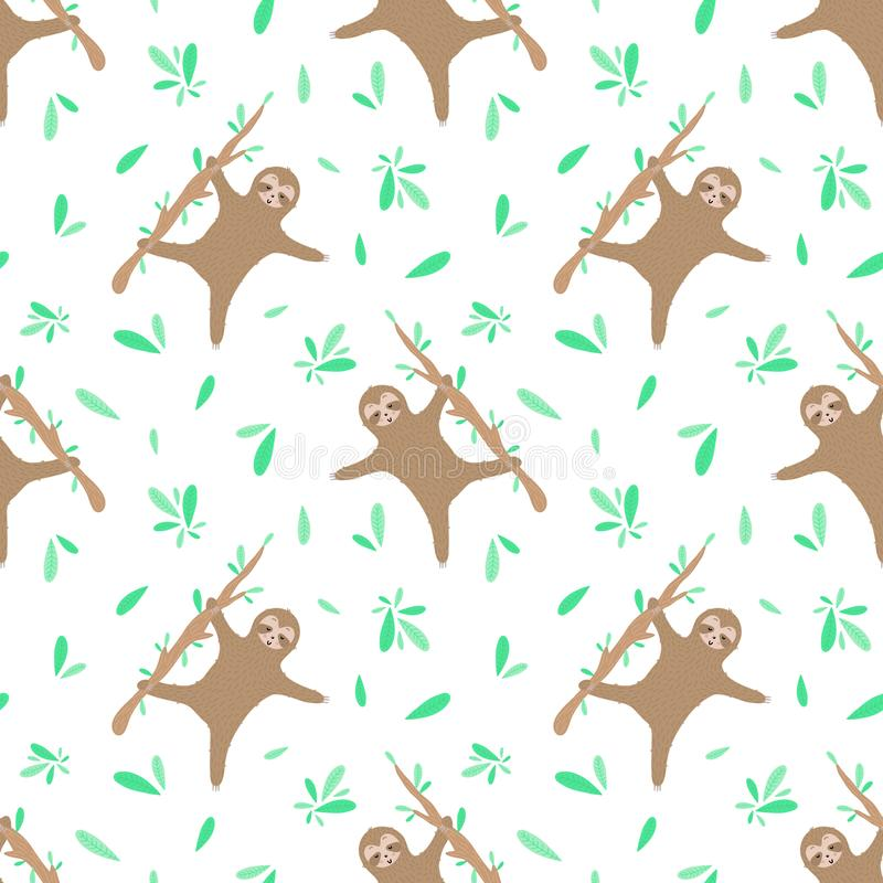Seamless pattern of dancing sloths and leaves. Hand-drawn illustration of sloth for children, tropical summer, textile, texture, royalty free illustration