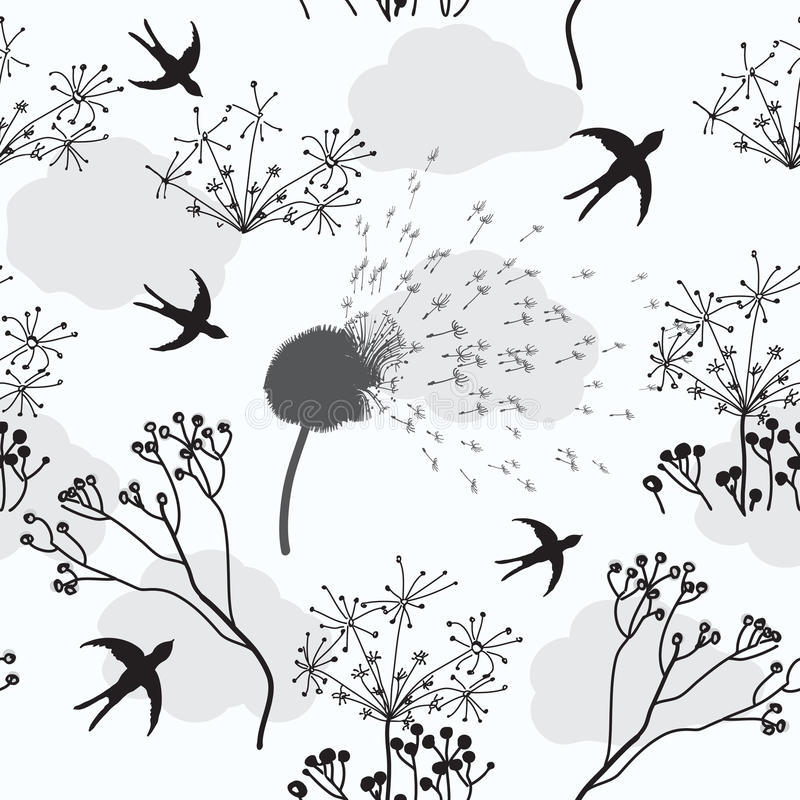 Seamless Pattern With Dandelion,  Flowers And Bird Royalty Free Stock Photo