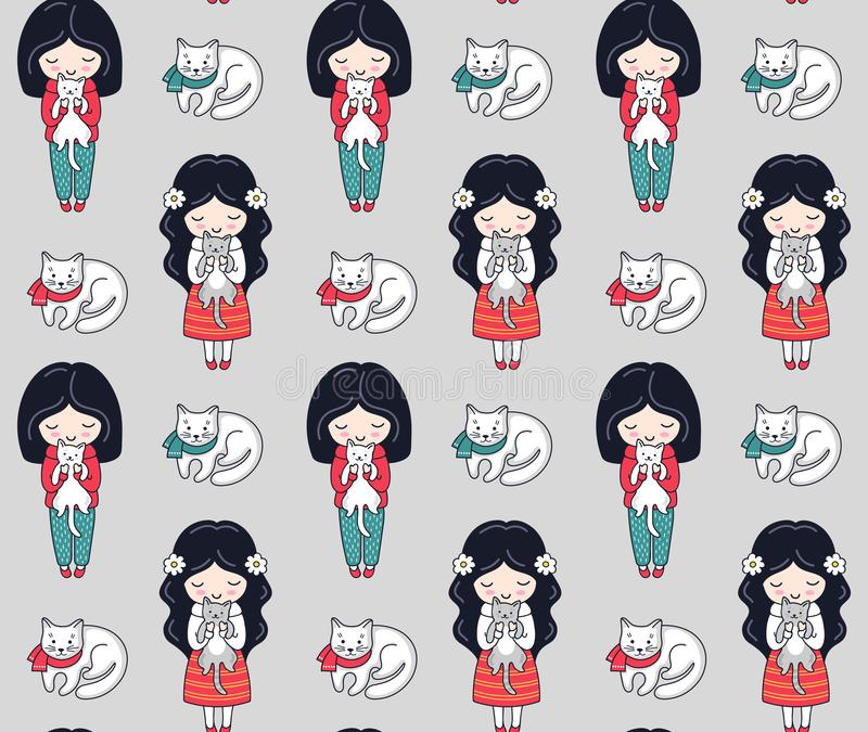 Seamless pattern with dark-haired little girl and cats. vector illustration