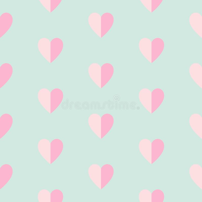 Seamless pattern with dark pink and light pink hearts on blue background stock illustration