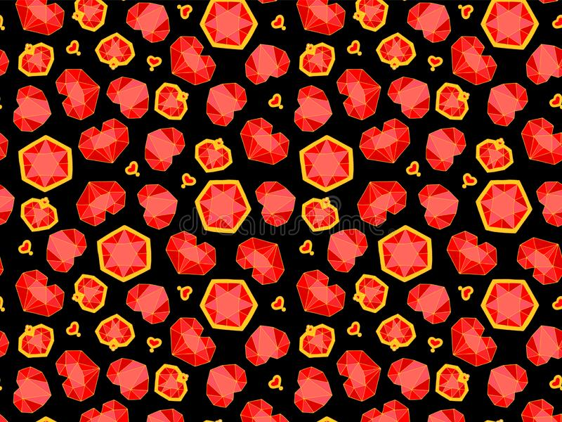 Seamless pattern for the day of all lovers, diamonds, gold star stock photo