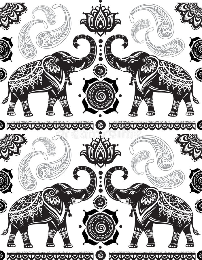 Seamless pattern with decorated elephants. And lotus flower vector illustration