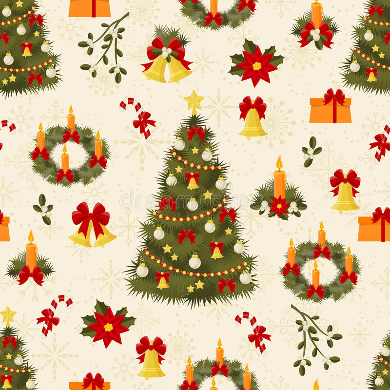 Download Seamless Pattern With Decorated Trees And Gifts Stock Vector - Image: 16944024