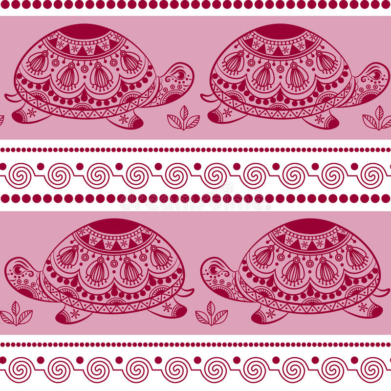 Seamless pattern with decorated turtles. Ethnic turtle. stock illustration