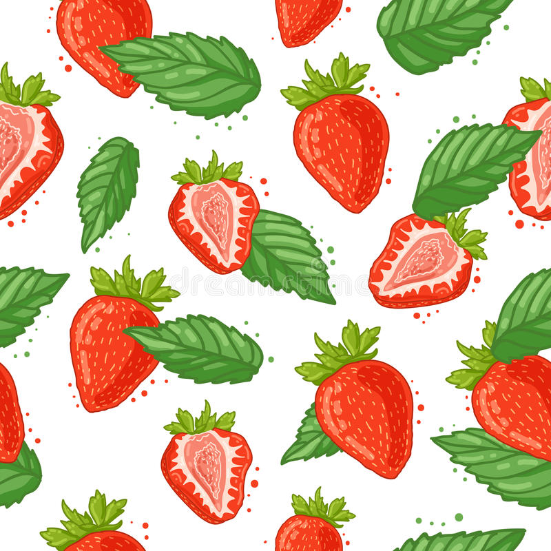 Seamless pattern with decoration of fresh berry, strawberry slices and mint. The background to the Ingredients for. Summer juice, smoothie. Vegetarian wallpaper vector illustration