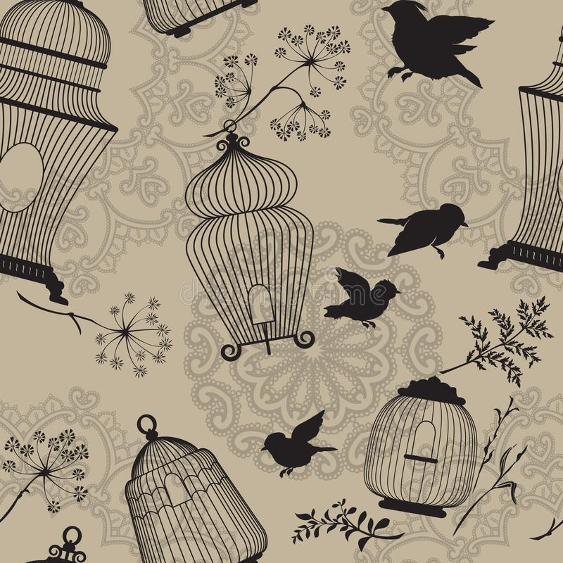 Seamless pattern with decorative bird cage black Silhouettes, fl stock illustration