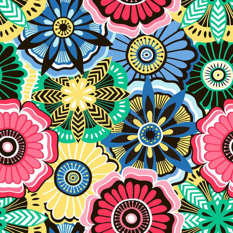 Seamless pattern from decorative bright flowers stock illustration