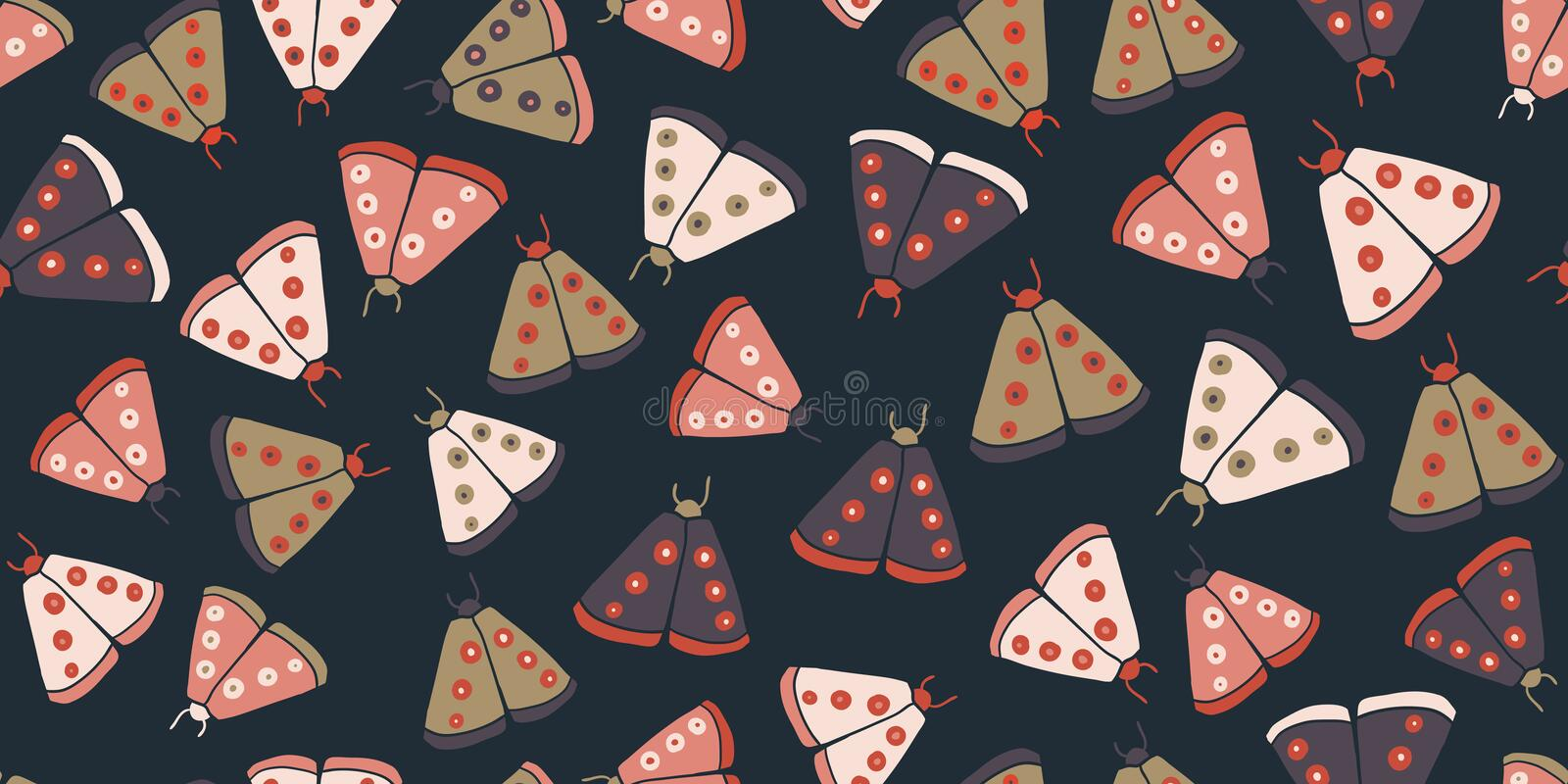 Seamless pattern with decorative butterflies moth royalty free stock photos