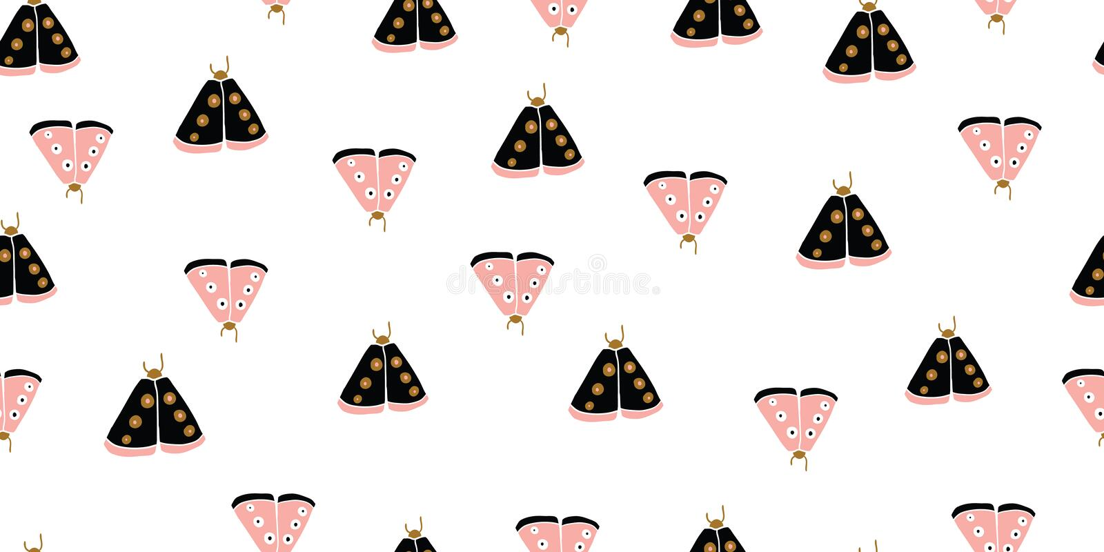Seamless pattern with decorative butterflies moth royalty free stock photography