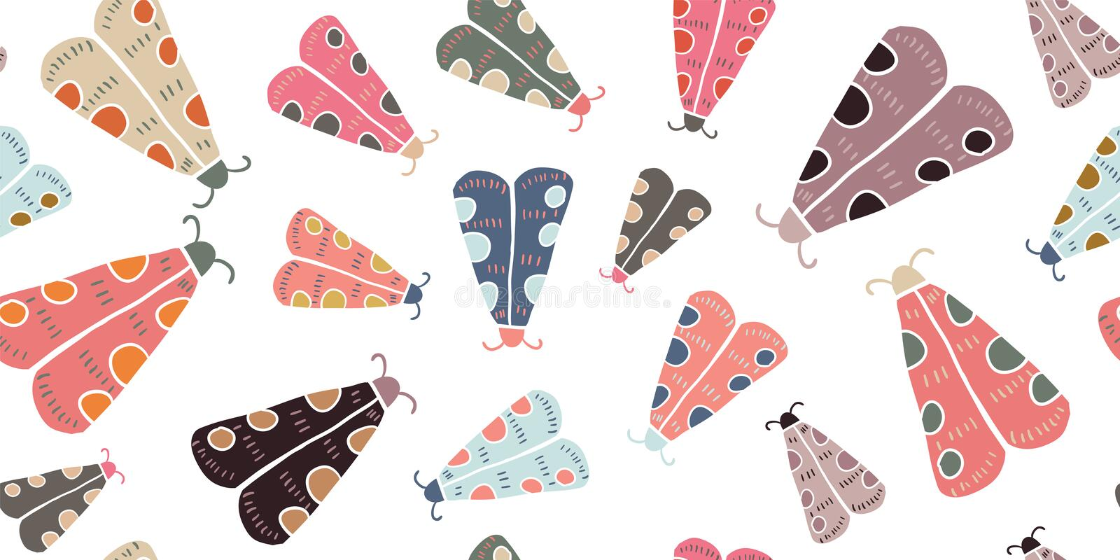 Seamless pattern with decorative butterflies moth stock image