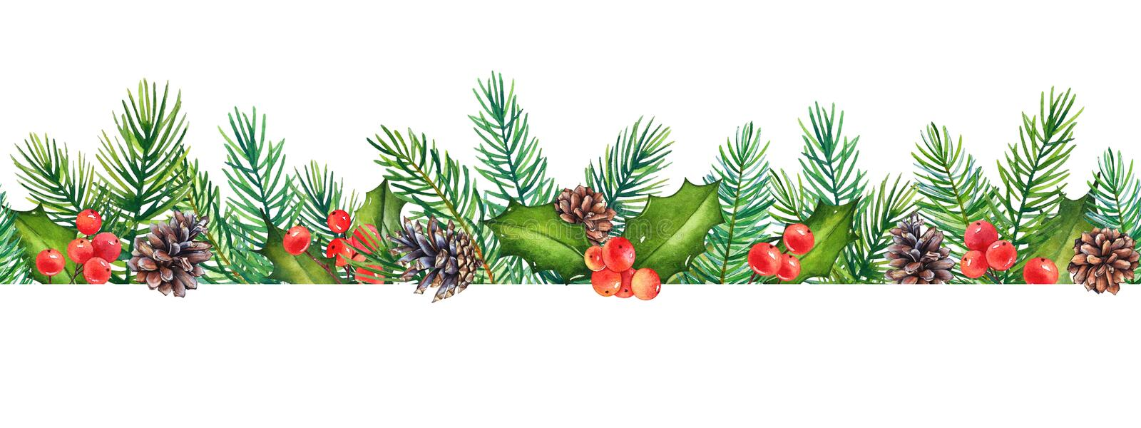 Seamless pattern, decorative Christmas floral element with watercolor branches of holly with berries and pine tree with cones royalty free illustration