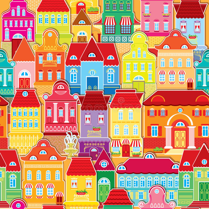 Seamless pattern with decorative colorful houses royalty free illustration