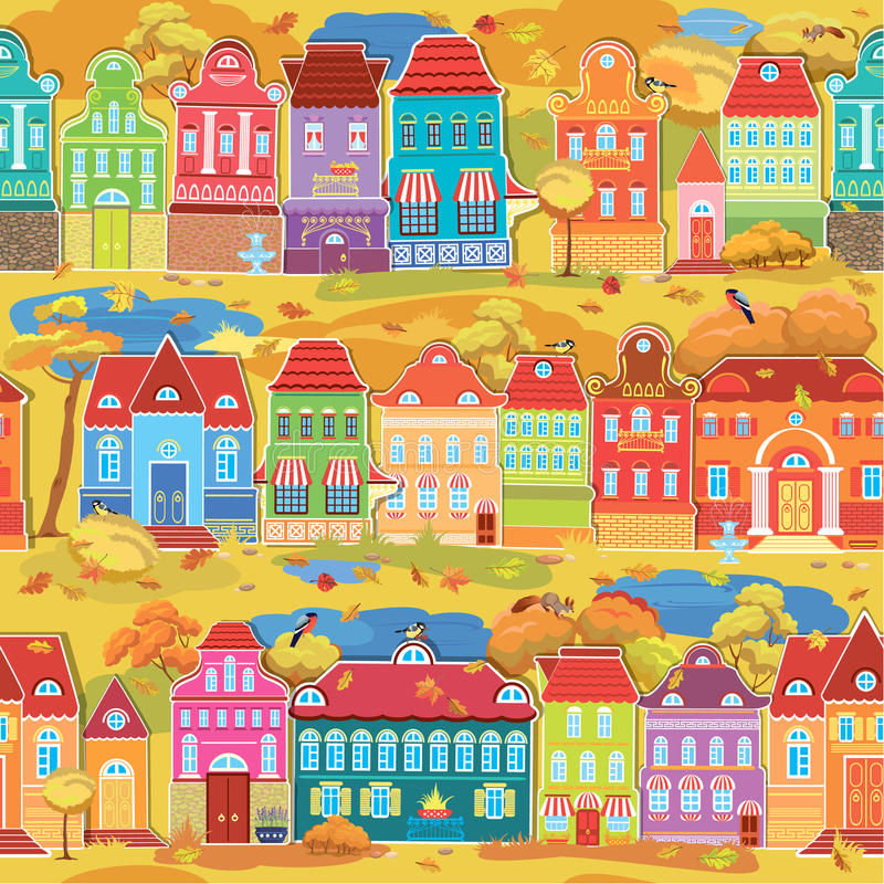 Seamless pattern with decorative colorful houses, fall or autumn stock illustration