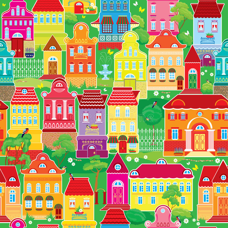 Seamless pattern with decorative colorful houses vector illustration