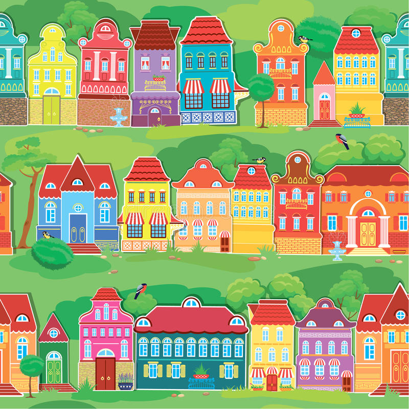 Seamless pattern with decorative colorful houses stock illustration