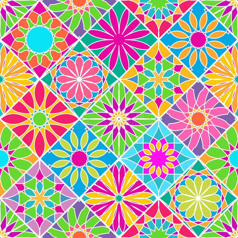 Seamless pattern with decorative colorful tiles. Bright ornamental rhombus stock illustration