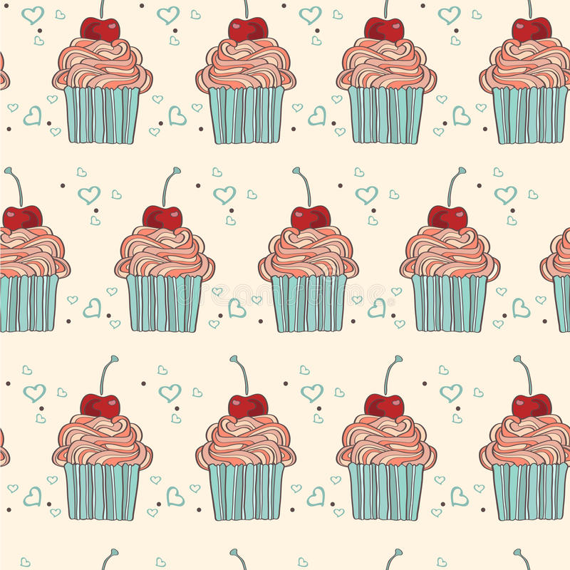 Seamless pattern with decorative cupcakes in vintage colors. Vector seamless pattern with decorative cupcakes in vintage colors royalty free illustration