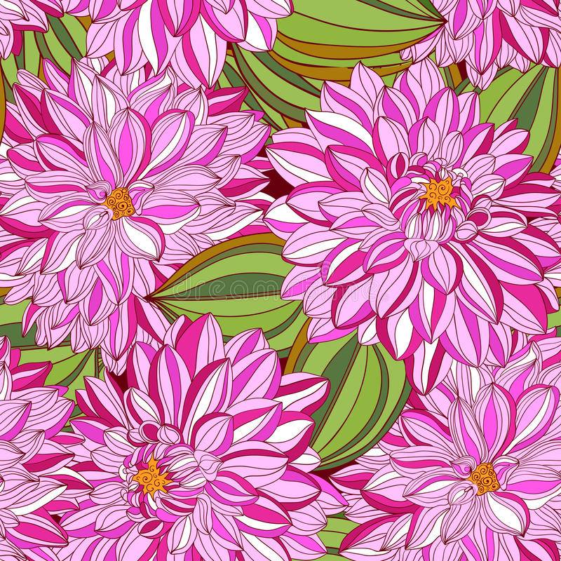 Seamless pattern with decorative dahlia stock illustration