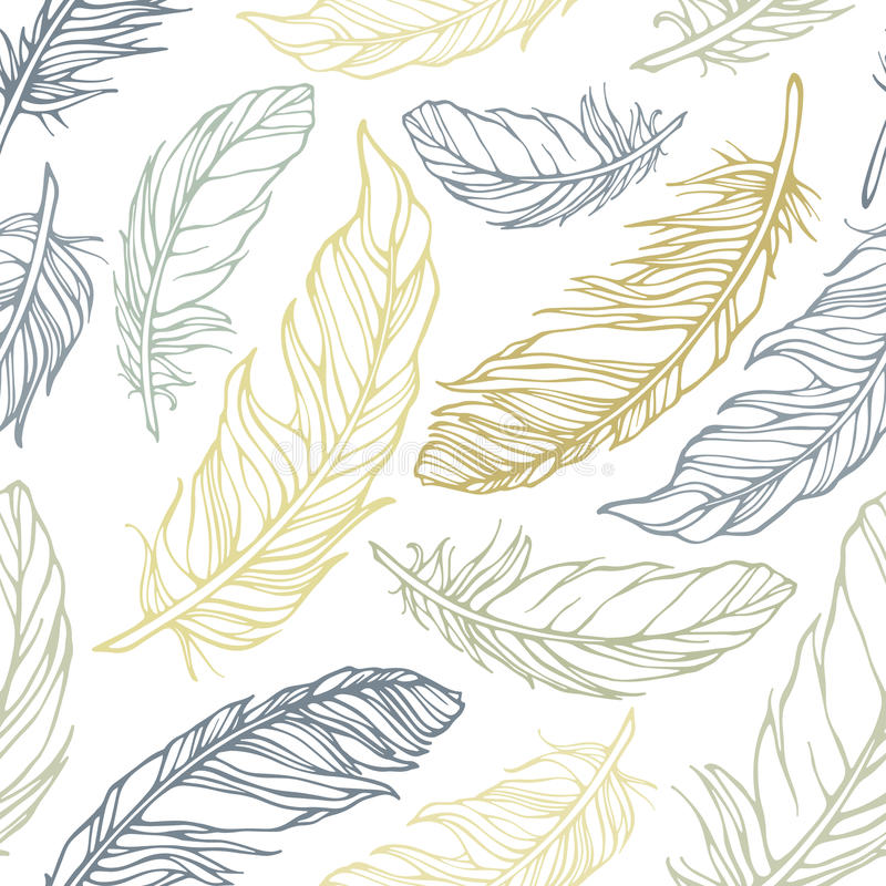 Seamless pattern with decorative feathers. Vector illustration, template for decoration and design stock illustration