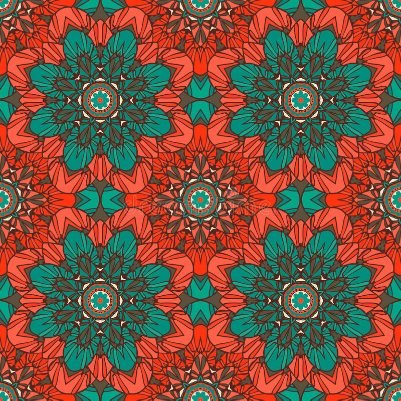 Seamless pattern. Decorative floral pattern in beautiful vintage colors. Vector illustration.  stock illustration