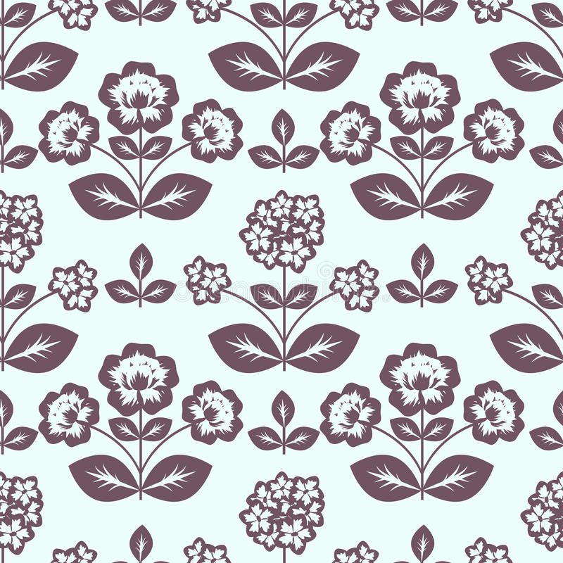 Seamless pattern. With decorative flowers stock illustration