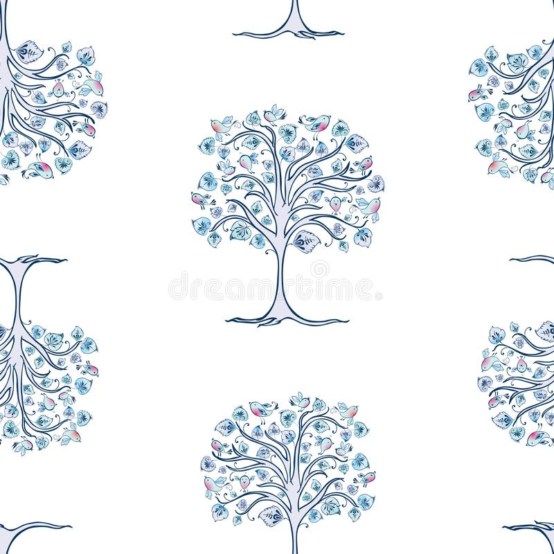 Seamless pattern of decorative frozen trees with bullfinches royalty free illustration