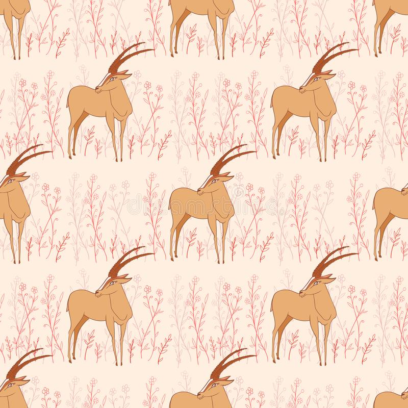 Seamless pattern, Decorative Gazelle hand drawn vector vector illustration