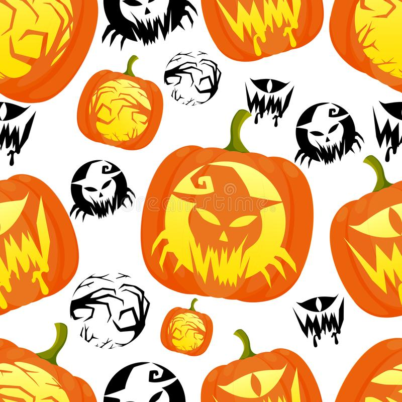 Seamless pattern of decorative Halloween pumpkins with different design illustration on white background website page and m stock illustration