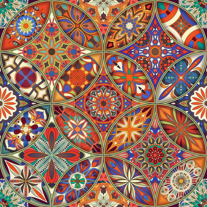 Seamless pattern with decorative mandalas. Vintage mandala elements. stock photography