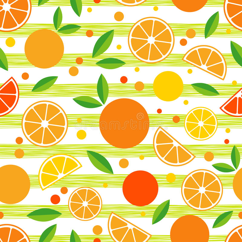 Seamless pattern with decorative oranges. Tropical fruits. stock photo